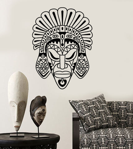 Vinyl Wall Decal African Mask Ethnic Style Room Africa Stickers (ig3888)