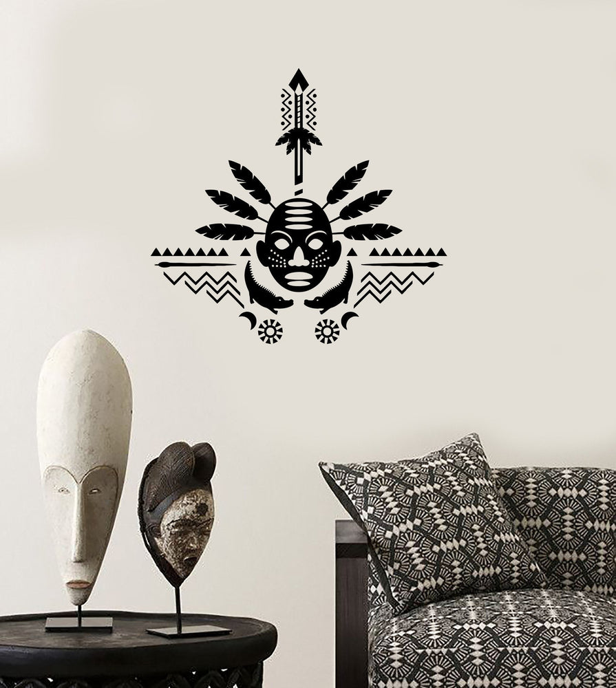 Wall Decal African Mask Symbol Ornament Tribal Mural Vinyl Decal Unique Gift (z3320)