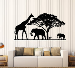 Vinyl Wall Decal African Nature Landscapes Animals Elephant Giraffe Stickers Unique Gift (1702ig)