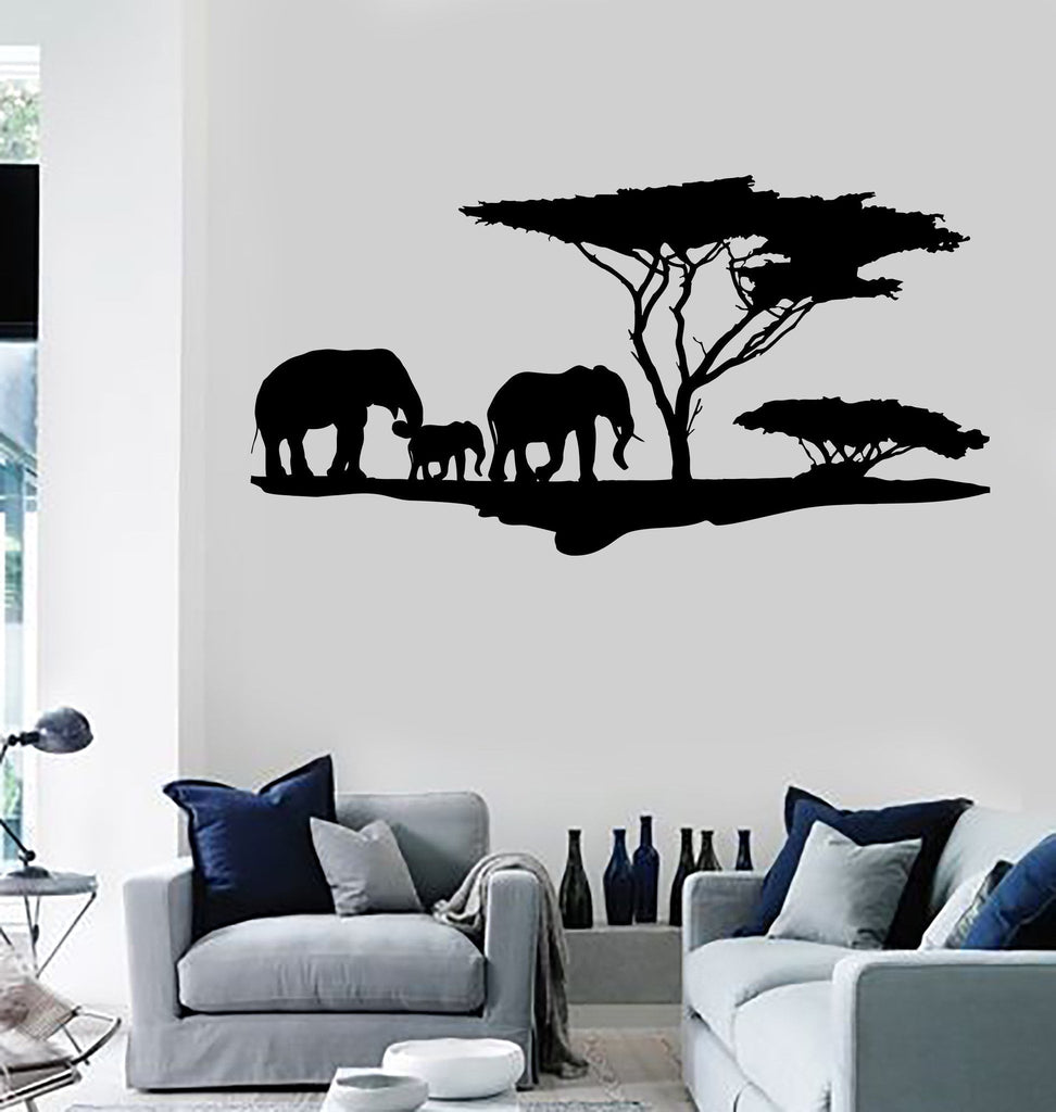 Vinyl Wall Decal African Nature Elephants Family Africa Tree ...
