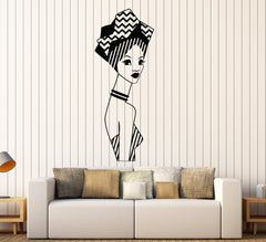 Vinyl Wall Decal African Woman Native Turban Black Lady Stickers (2548ig)