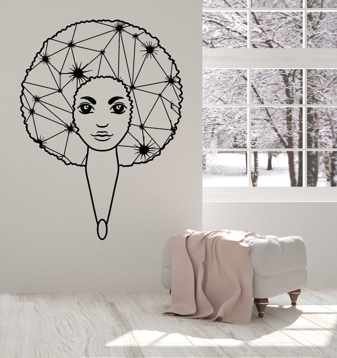 Vinyl Wall Decal Afro Hairstyle African Girl Black Lady Blot Stickers Unique Gift (1459ig)