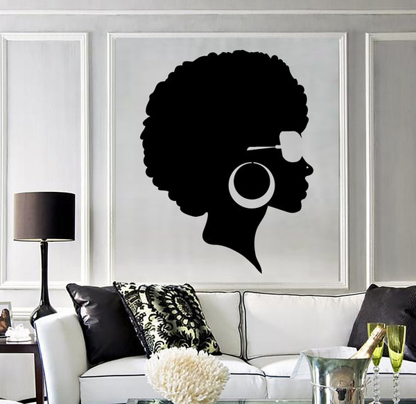 Vinyl Wall Decal Afro Hairstyle Black Lady Beauty Salon Stickers Mural Wallstickers4you