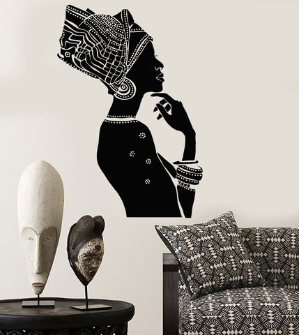 Vinyl Wall Decal African Beauty Woman Ethnic Style Afro Stickers Mural (ig3851)