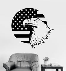 Vinyl Wall Decal American Bald Eagle Flag Patriotic Stickers Unique Gift (454ig)
