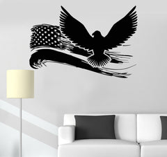 Vinyl Wall Decal American Eagle US Flag USA Symbol Stickers Mural Unique Gift (ig3362)