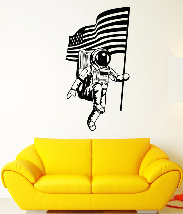 Vinyl Wall Decal American Flag Space Astronaut Spaceman Stickers Unique Gift (1911ig)