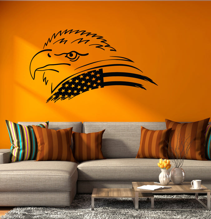 Vinyl Wall Decal America Bald Eagle American Flag Bird Symbol Stickers (4265ig)
