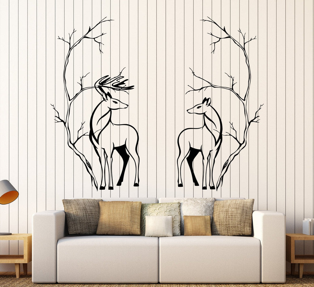 Vinyl Wall Decal Deers Couple Animals Tree Branches Room Decor - Wall decals animals