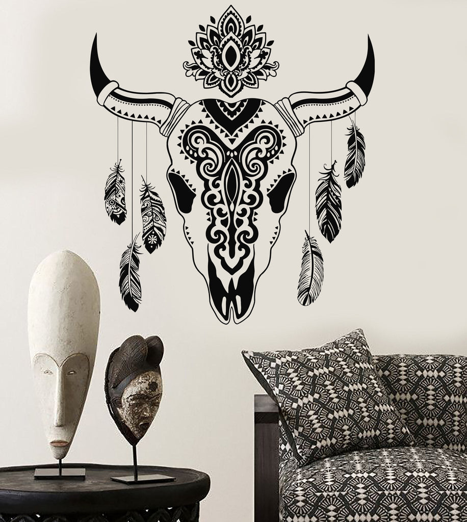 Vinyl Wall Decal Animal Skull Bull Feathers Ethnic Decor Stickers Unique Gift (715ig)