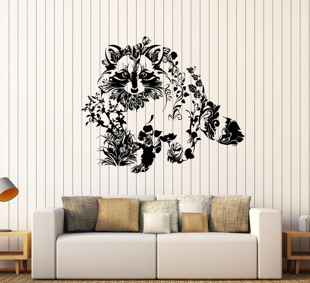 Vinyl Wall Decal Art Abstract Raccoon Animal Flowers Nature - Vinyl wall decals abstract