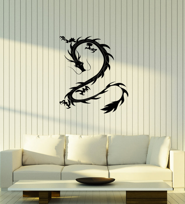 Vinyl Wall Decal Asian Dragon Ornament Chinese Oriental Style Fantasy Stickers (4176ig)
