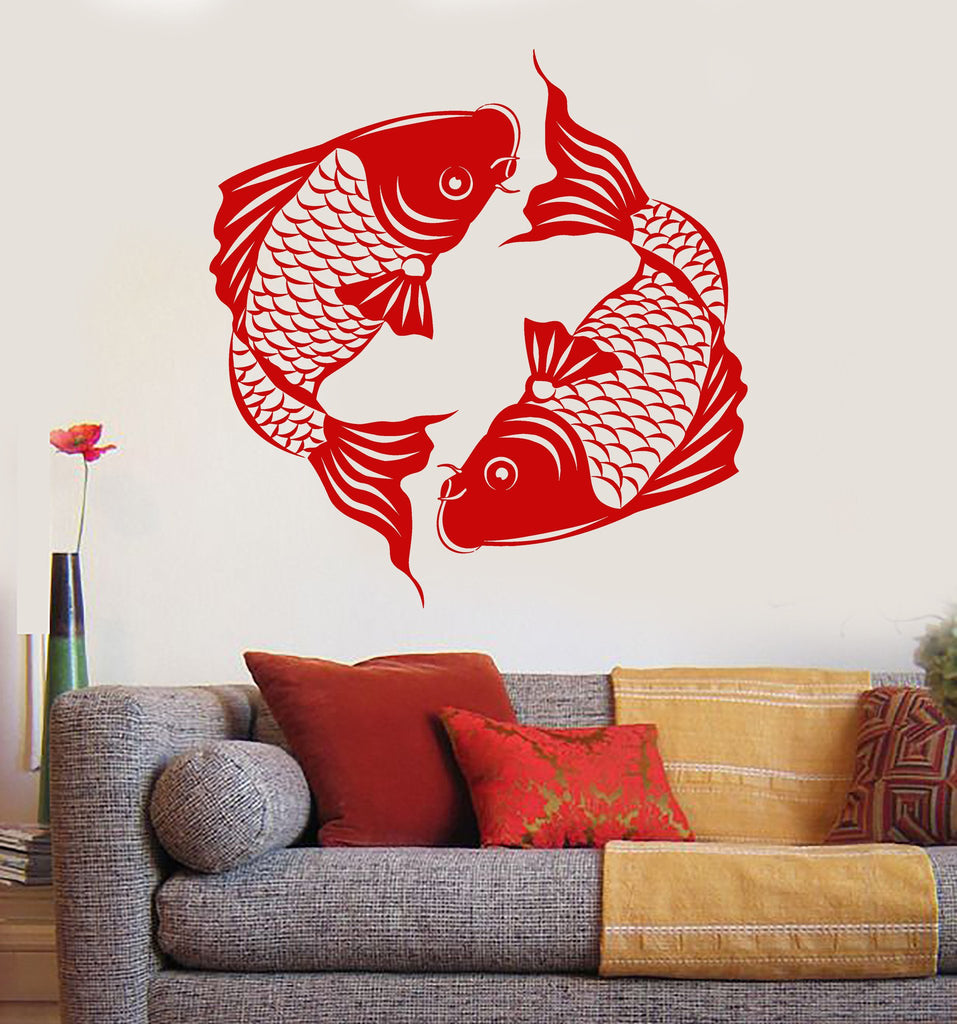 Vinyl Wall Decal Asian Koi Carp Fish Japanese Style Stickers Mural - Vinyl wall decals asian