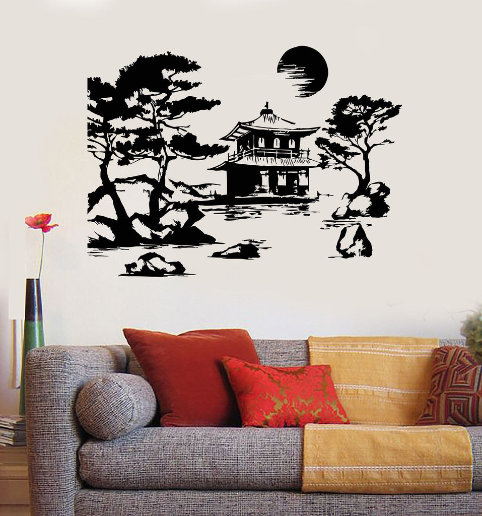 Vinyl Wall Decal Asian Decor Nature Pagoda Tree Stickers Unique - Vinyl wall decals asian