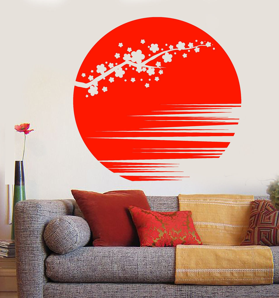 Vinyl Wall Decal Sunset Beautiful Sakura Flower Branch Asian Style - Vinyl wall decals asian