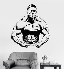 Vinyl Wall Decal Athlete Muscled Bodybuilding Gym Fitness Stickers Unique Gift (ig3578)