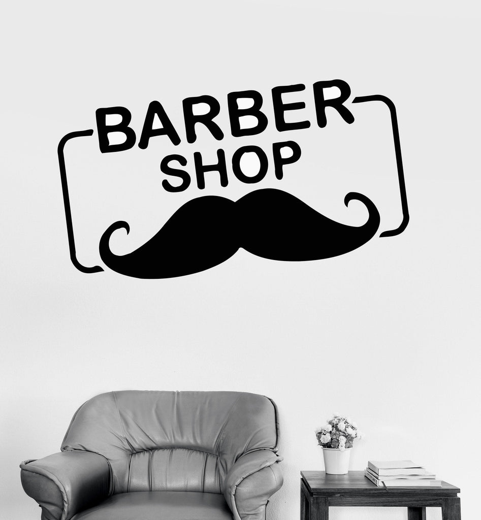 Vinyl Wall Decal Barber Shop Logo Mustache Hair Salon Stickers Unique Gift (ig4223)