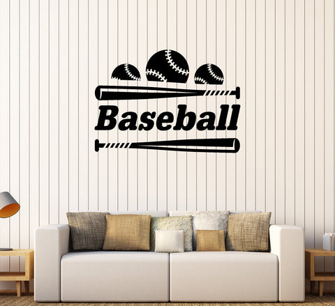 Vinyl Wall Decal Baseball Bat Ball Word Sports Room Stickers Mural Unique Gift 431ig