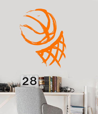 Vinyl Wall Decal Basketball Hoop Ball Sport Sports Fan Teen Room Stickers Unique Gift (ig3159)