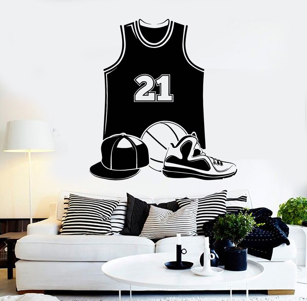 Vinyl Wall Decal Basketball Uniform Player Ball Sports Stickers Unique Gift (ig4323)