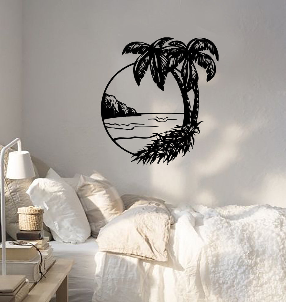 Wall Decal Palms Beach Ocean Beach Sea Island Resort Vinyl Stickers (ed201)