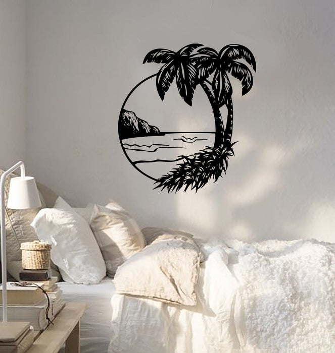 Wall Decal Palms Beach Ocean Beach Sea Island Resort Vinyl Stickers Unique Gift (ed201)