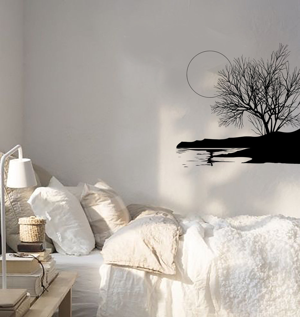 Wall decal panorama landscape nature tree lake beach moon vinyl wall decal panorama landscape nature tree lake beach moon vinyl sticker unique gift ed402 amipublicfo Image collections