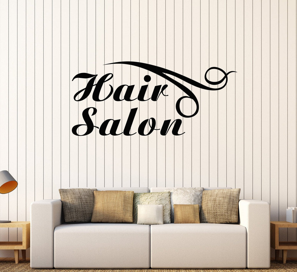 Vinyl wall decal hair salon logo hairdresser barber shop for Stickers salon