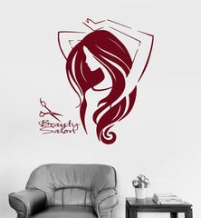 Vinyl Wall Decal Beauty Salon Woman Hair Barbershop Stickers Unique Gift (ig4164)