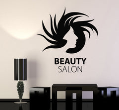 Vinyl Wall Decal Beauty Hairdressing Salon Womans Girls Hair Stickers Unique Gift (678ig)