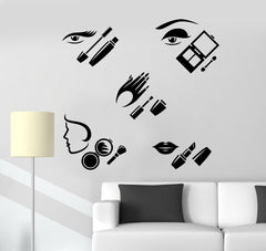 Vinyl Wall Decal Beauty Salon Cosmetics Makeup Woman Stickers Unique Gift (261ig)