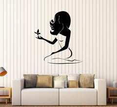 Vinyl Wall Decal Beauty Woman Spa Salon Butterfly Stickers Mural Unique Gift (526ig)