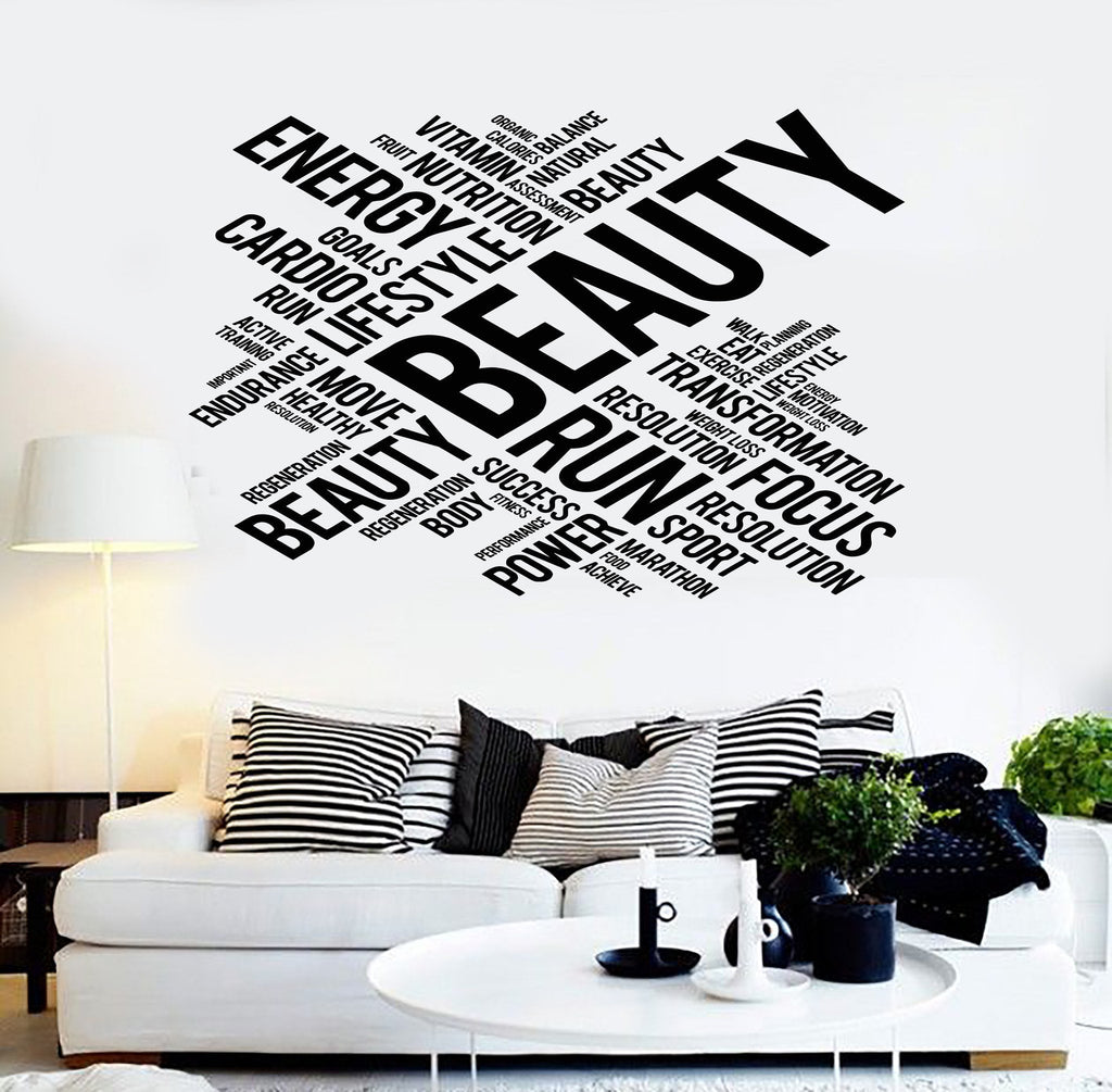 Vinyl Wall Decal Beauty Words Healthy Lifestyle Living Fitness ...
