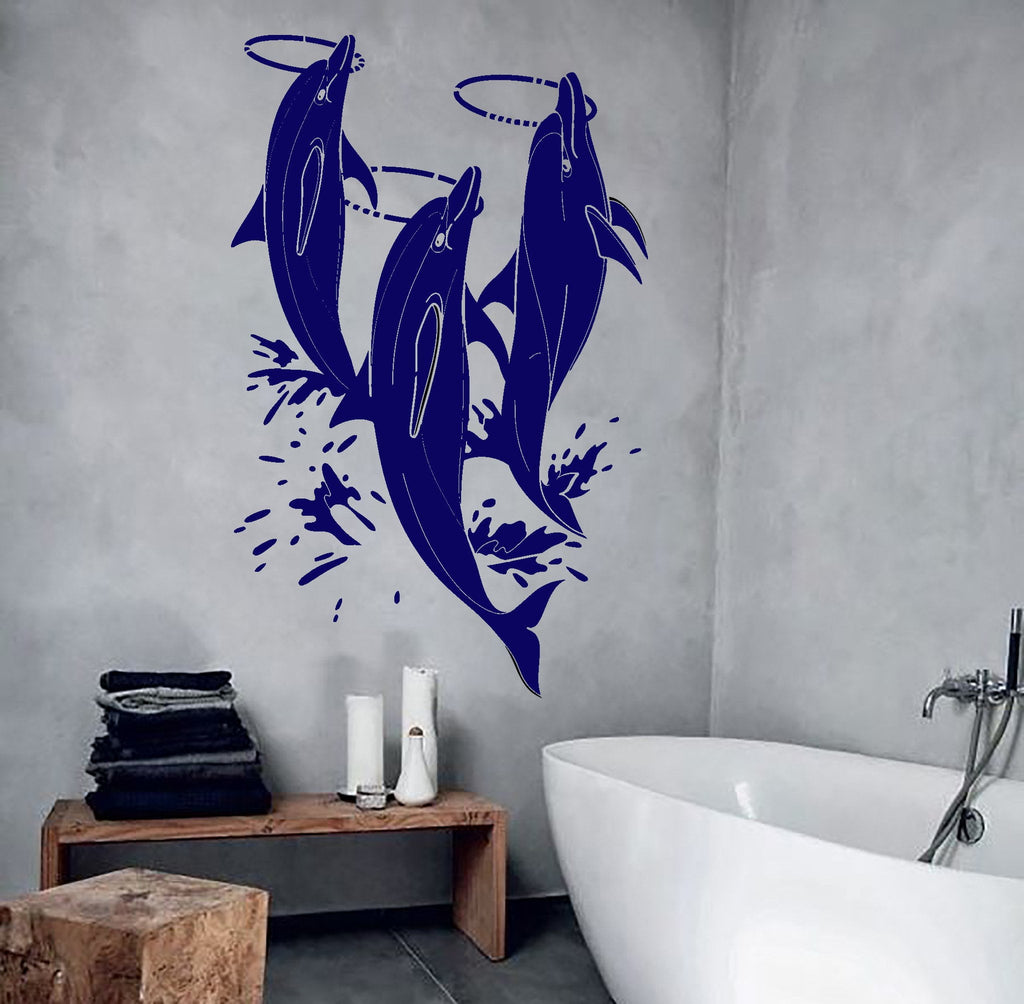 Wall Sticker Bathroom Vinyl Wall Decal Dolphins Show Zoo Water Park Bathroom Design