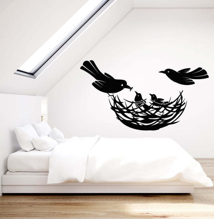 Vinyl Wall Decal Birds Nest Family Home Decor Chicks Stickers Unique G Wallstickers4you