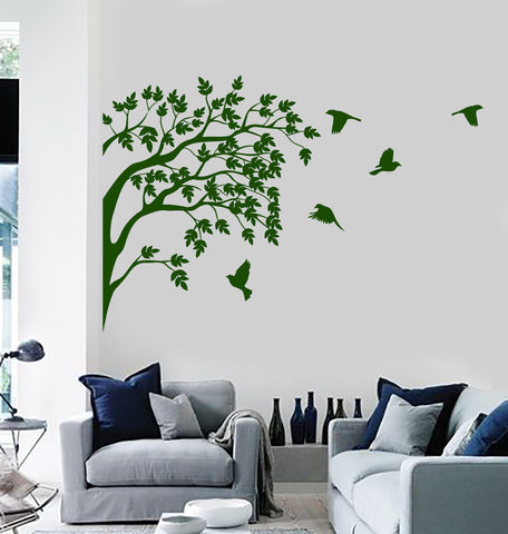 Vinyl Wall Decal Decor Sticker Nature Tree Birds Earth Peace Garden Decor Unique Gift (669ig)