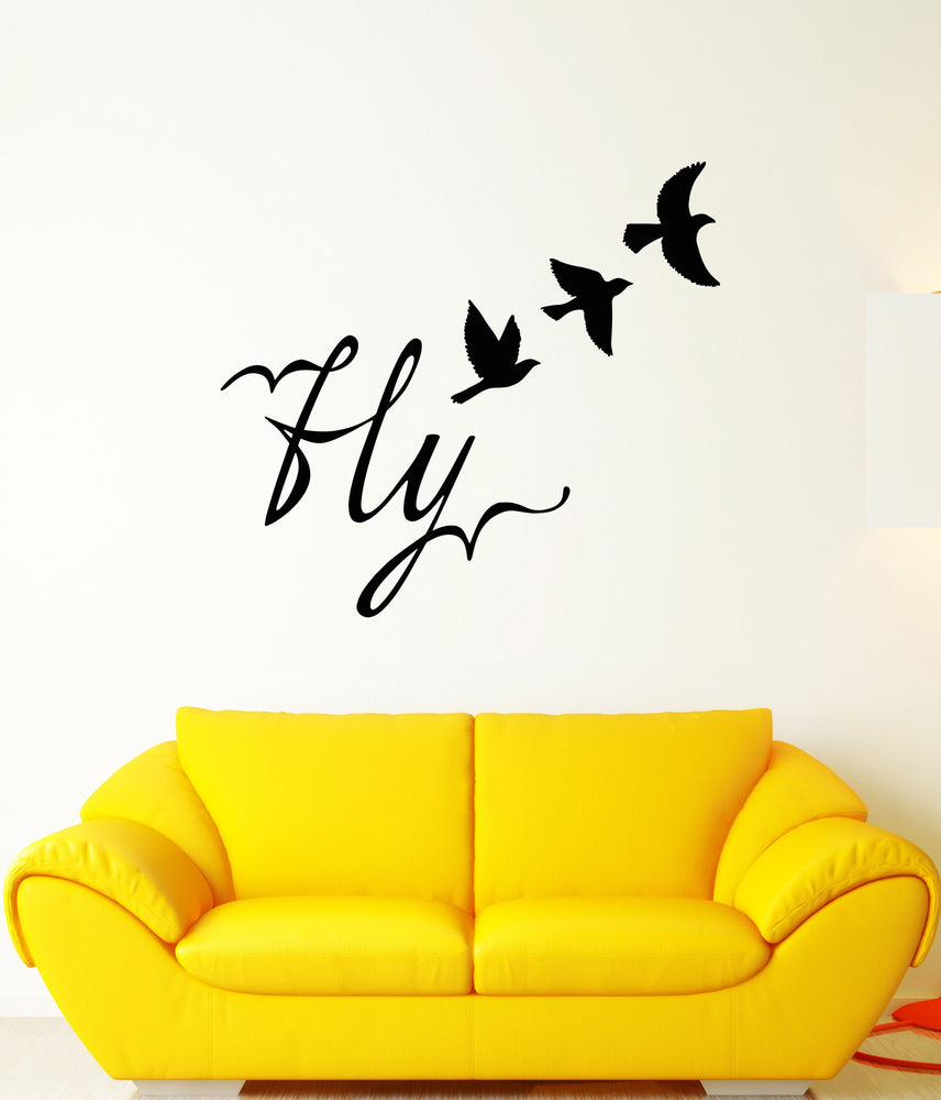 Vinyl Wall Decal Fly Word Bird Freedom Room Decoration Stickers ...