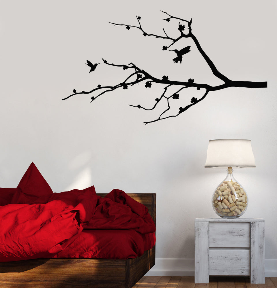 Vinyl Wall Decal Beautiful Tree Branches Sakura Birds Stickers (3733ig)