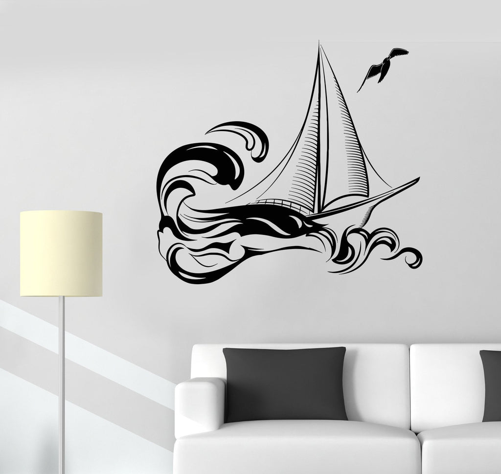 Beach style wall vinyl decal page 4 wallstickers4you vinyl wall decal yacht boat ship sea ocean waves stickers unique gift 999ig amipublicfo Gallery