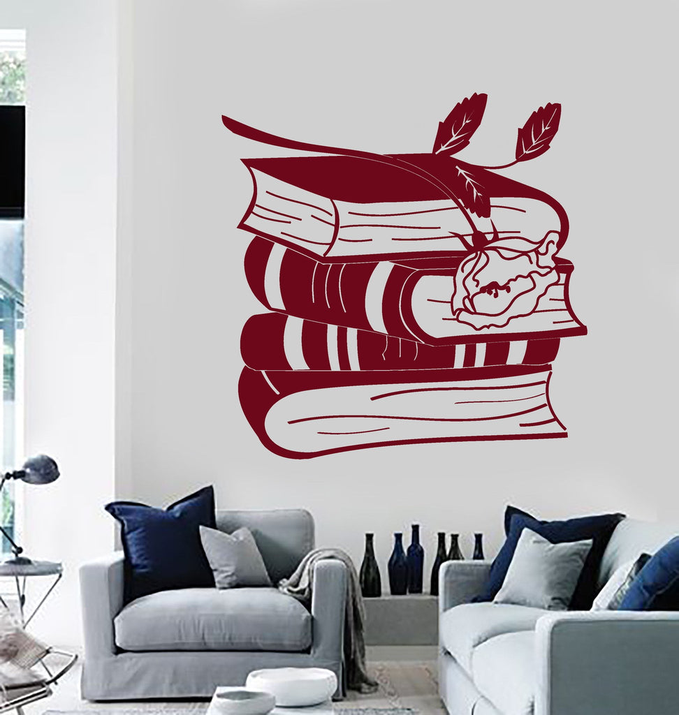 Vinyl Wall Decal Books Rose Reading Room Bookworm Library Stickers - Vinyl wall decals books