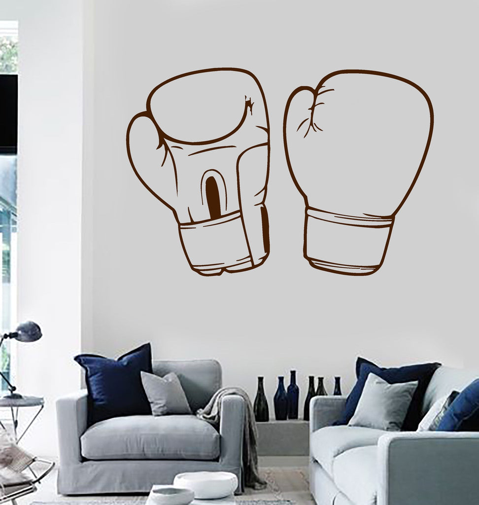 Wall Sticker Vinyl Decal Boxing Gloves Martial Arts Fighter Man Sports (ig324)