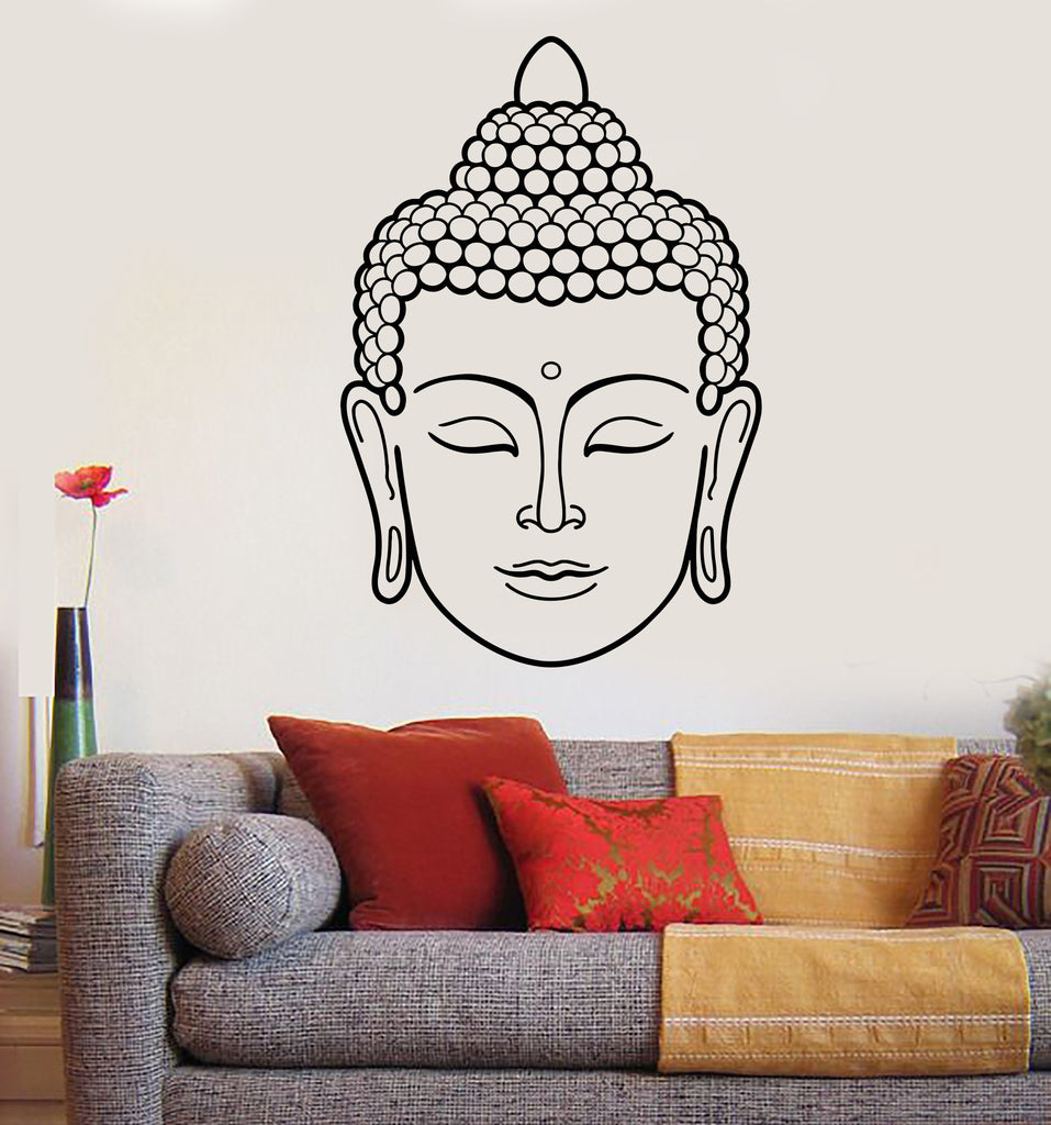 Vinyl Wall Decal Buddha Face Head Buddhism India God Religion Stickers  Unique Gift (1434ig)