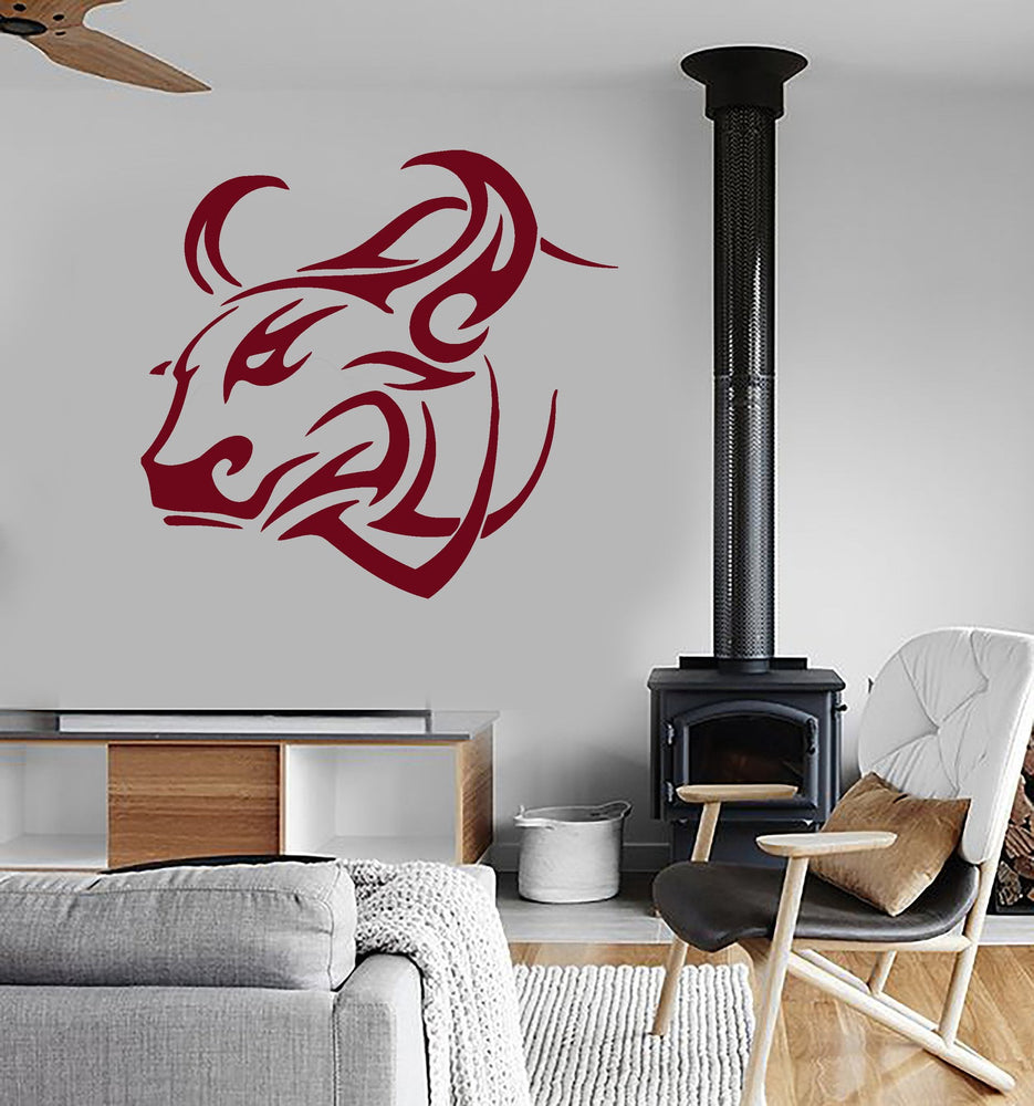 Vinyl Wall Decal Bull Animal Buffalo Tribal Art Decor Mural Stickers Unique Gift (ig028)