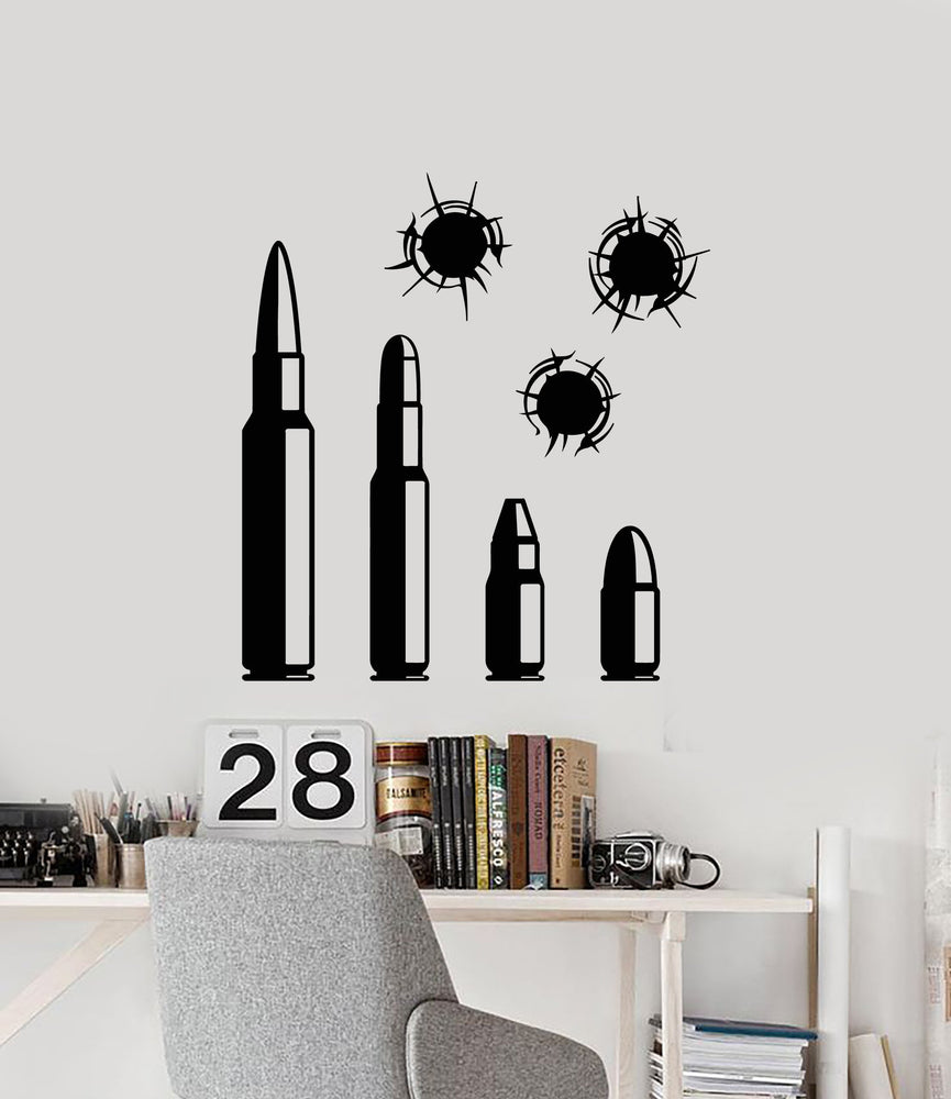 Vinyl Wall Decal Bullets Shooting Range Shooter For Men Stickers
