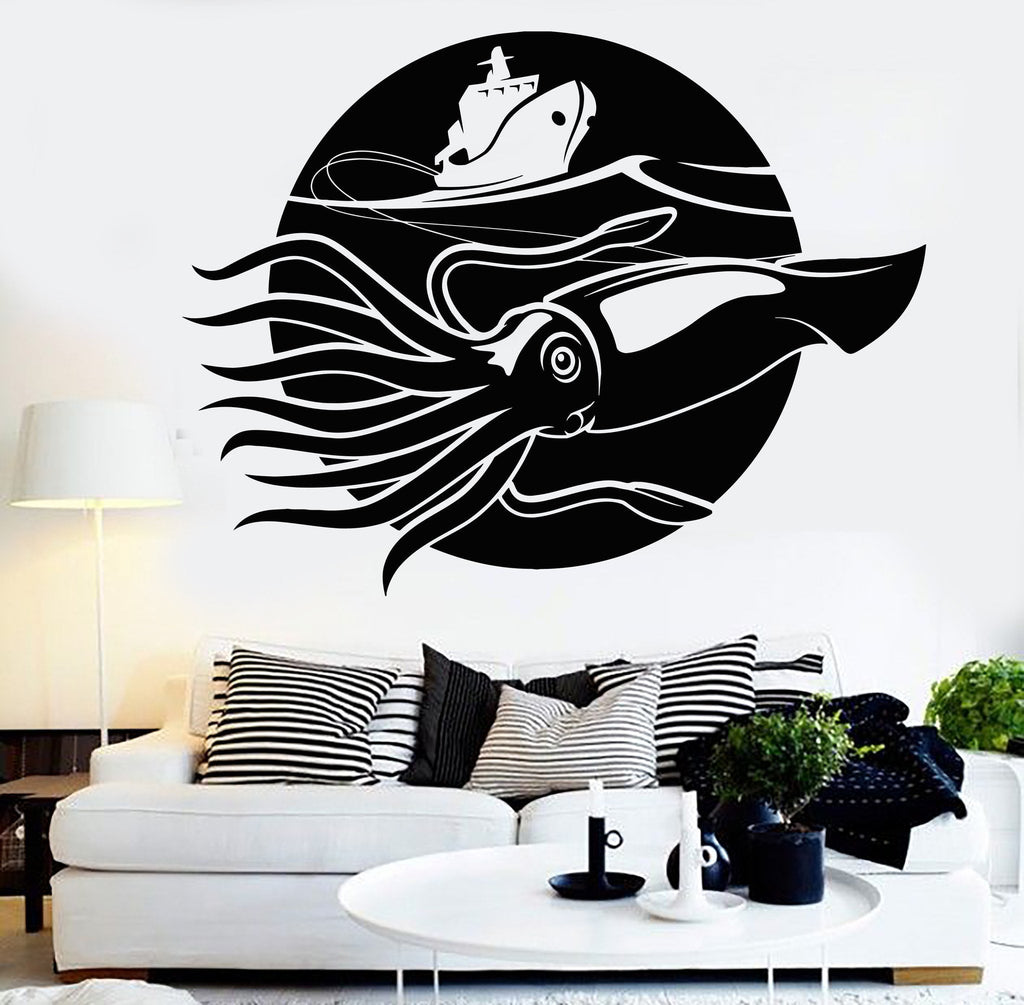 Vinyl Wall Decal Giant Squid Kraken Sea Fishing Ship Marine Style Stickers Unique Gift (1170ig  sc 1 st  Wallstickers4you & Vinyl Wall Decal Giant Squid Kraken Sea Fishing Ship Marine Style ...