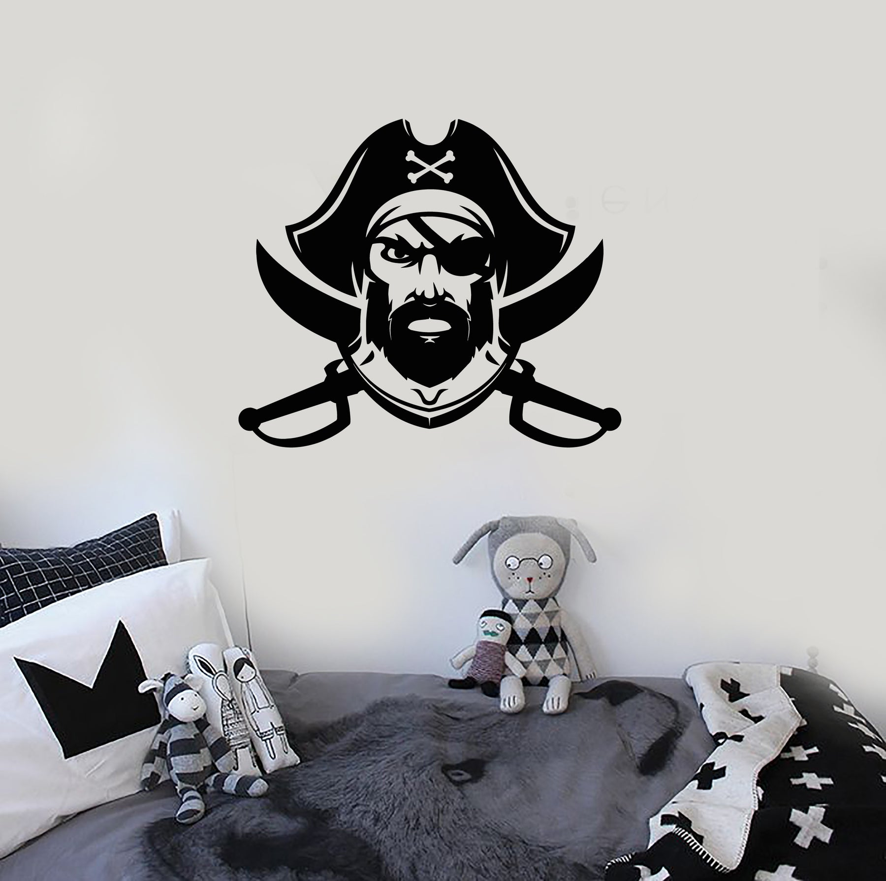 Vinyl Wall Decal Captain Sea Pirate Ship Nautical Style Stickers (3935ig)