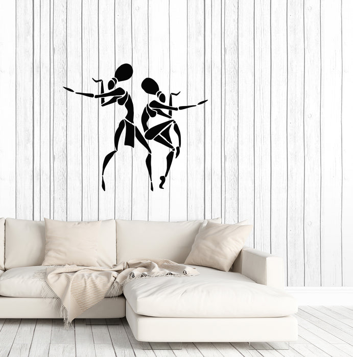 Vinyl Wall Decal African Women Cartoon Native Dancers Stickers (3865ig)