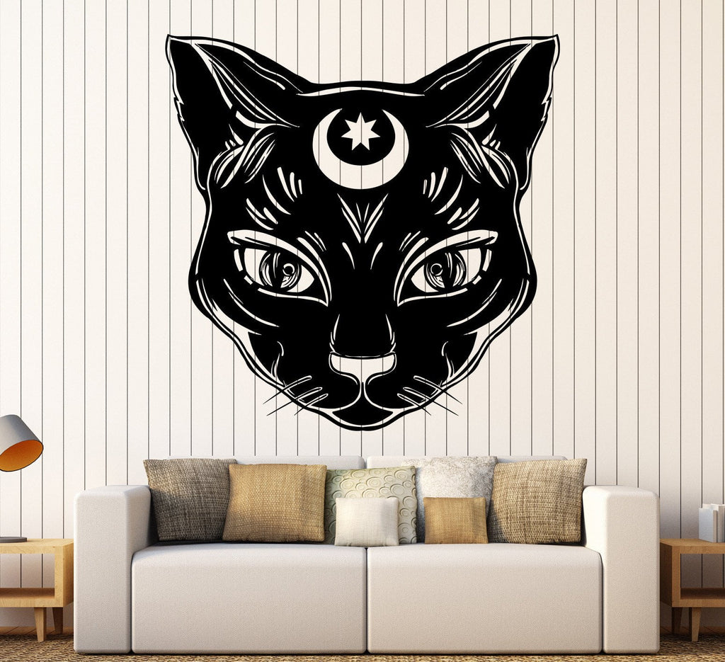 Vinyl wall decal black cat moon witch magic witchcraft stickers vinyl wall decal black cat moon witch magic witchcraft stickers unique gift 1099ig amipublicfo Choice Image