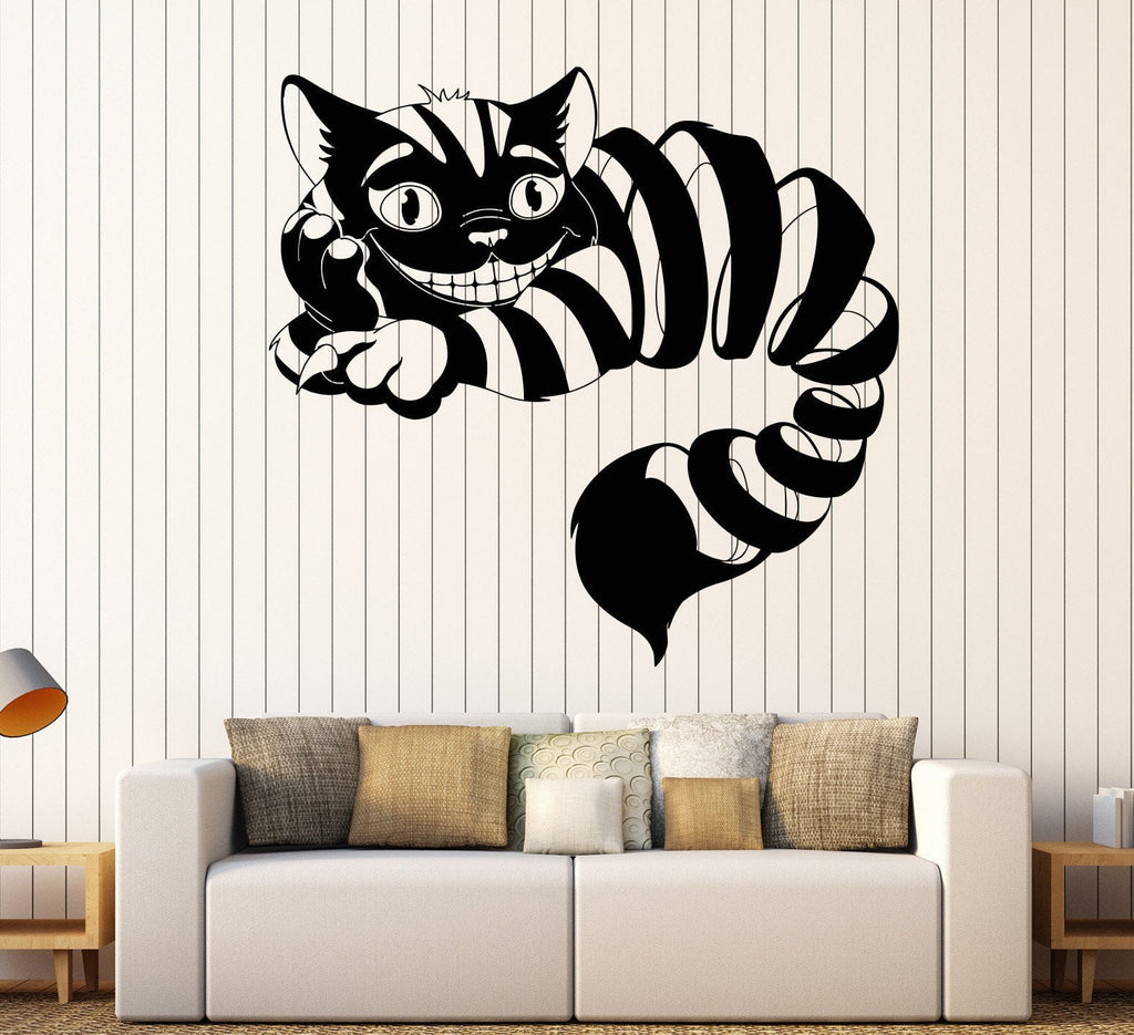 Vinyl wall decal cheshire cat fairy tale fantasy nursery vinyl wall decal cheshire cat fairy tale fantasy nursery childrens playroom stickers unique gift 1059ig amipublicfo Gallery