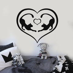 Wall Stickers Vinyl Decal Romantic Love Heart Cat Animal (ig487)